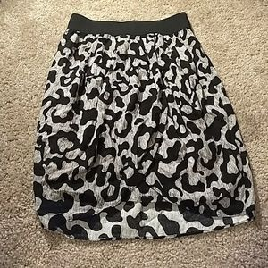 Black and white patterned petal skirt